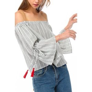 LAST ONE! Off the Shoulder Top with Tassel Detail